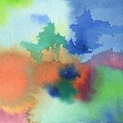 Hand-Painted Abstract Watercolor in Blue Orange Green Red by Beverly Claire Kaiya