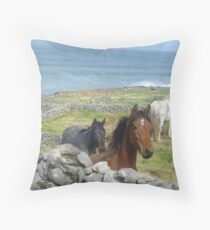 Horses on Inis Mor Throw Pillow