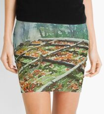 Forest Hut Roof with Moss and Fallen Autumn Leaves Mini Skirt