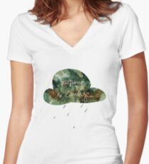 blue autumn is coming... Women's Fitted V-Neck T-Shirt