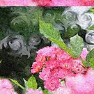 Painterly Pink Wild Roses with Green White Swirls 2 by Beverly Claire Kaiya