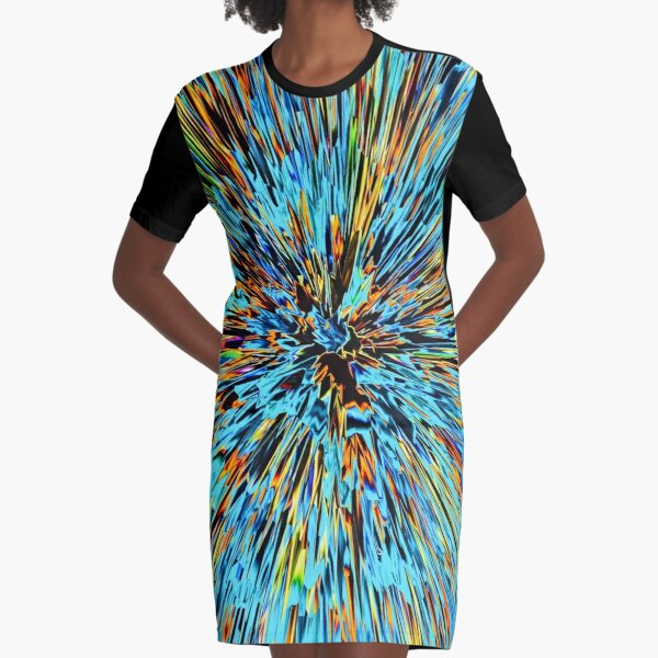 Warp Speed Galaxy View Abstract Color Burst Graphic T-Shirt Dress