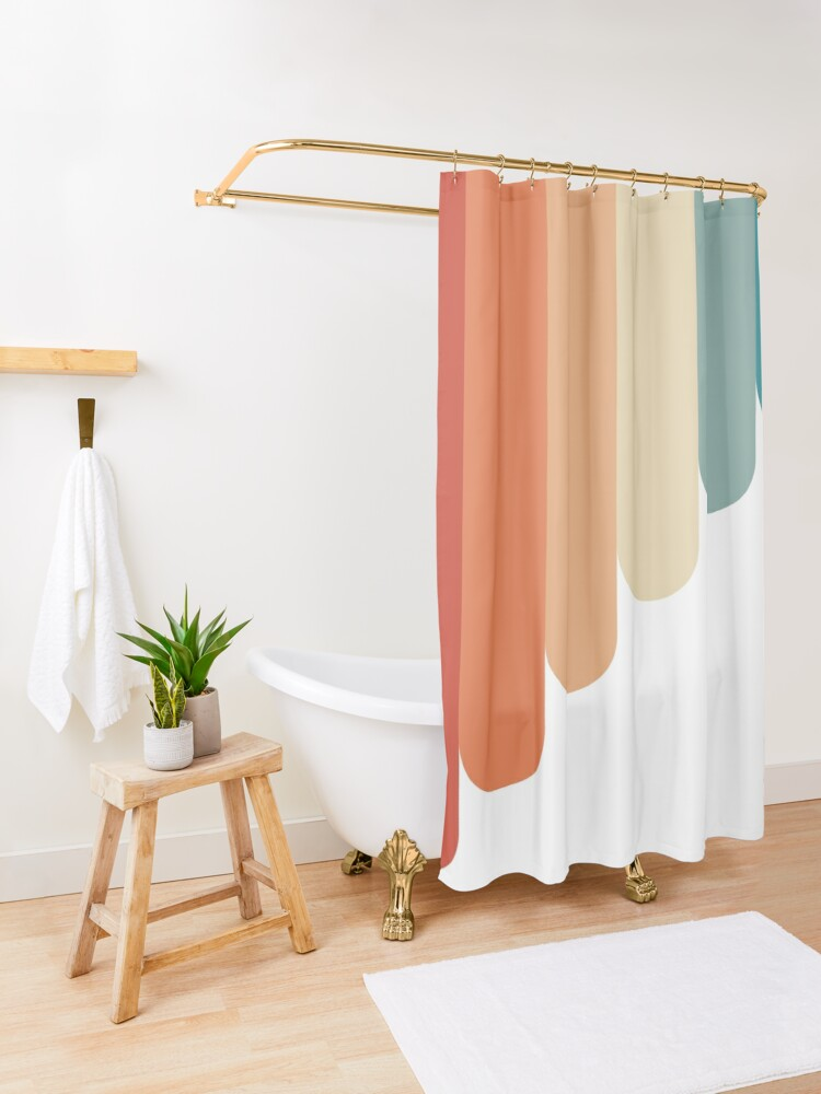 Alternate view of Retro Vintage Stripes Shower Curtain