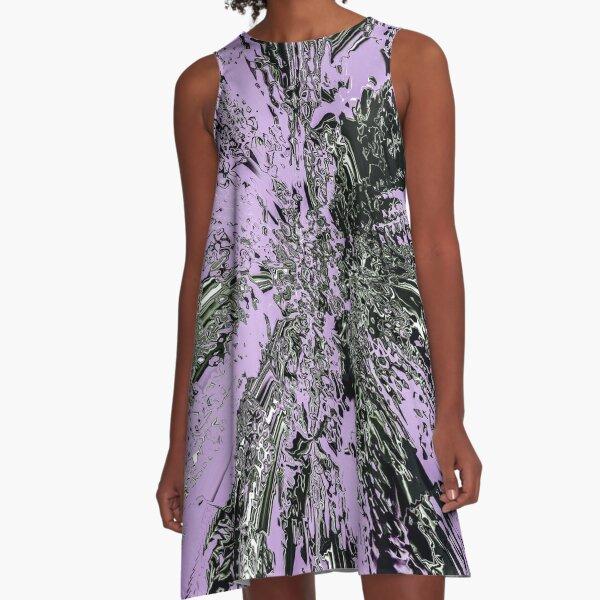 Purple Explosion Abstract Digital Art A-Line Dress