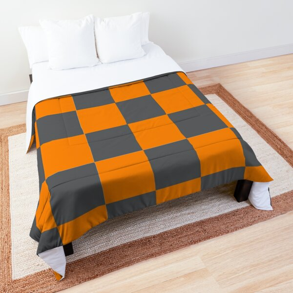 Tennessee Orange and Smokey Grey Checker Pattern Comforter