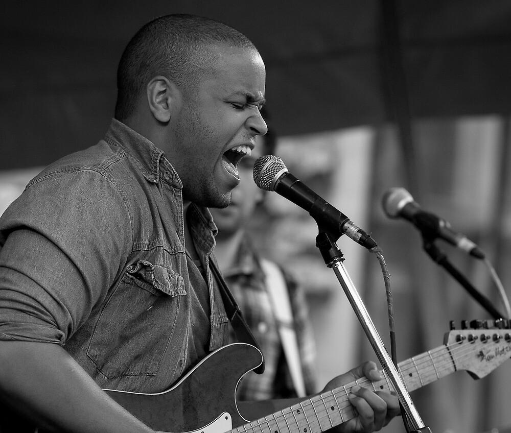 Rock singer-guitarist on stage by David Harrison