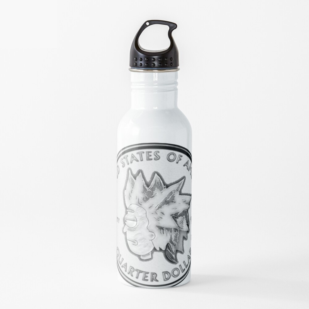 Rick Sanchez Wig Quarter Coin Water Bottle