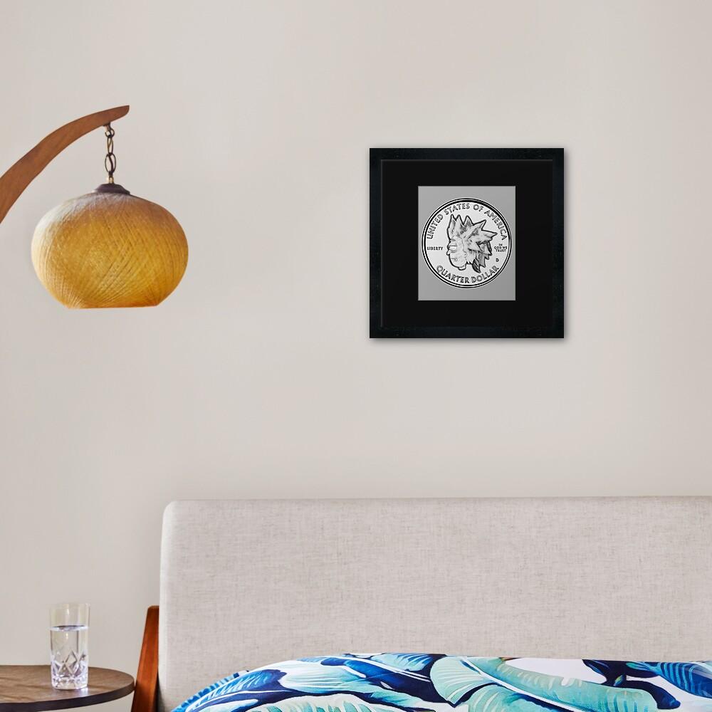 Rick Sanchez Wig Quarter Coin Framed Art Print