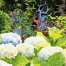 Garden with White Lavender Hydrangeas and Bluebells by Beverly Claire Kaiya