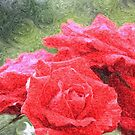 Painterly Red English Roses with Green Swirls by Beverly Claire Kaiya