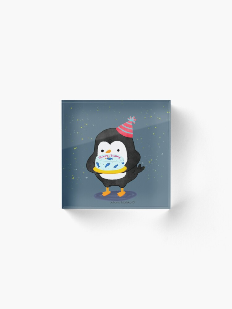 Alternate view of Festive penguin with a birthday fish cake Acrylic Block