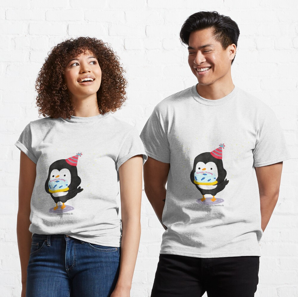 Festive penguin with a birthday fish cake Classic T-Shirt