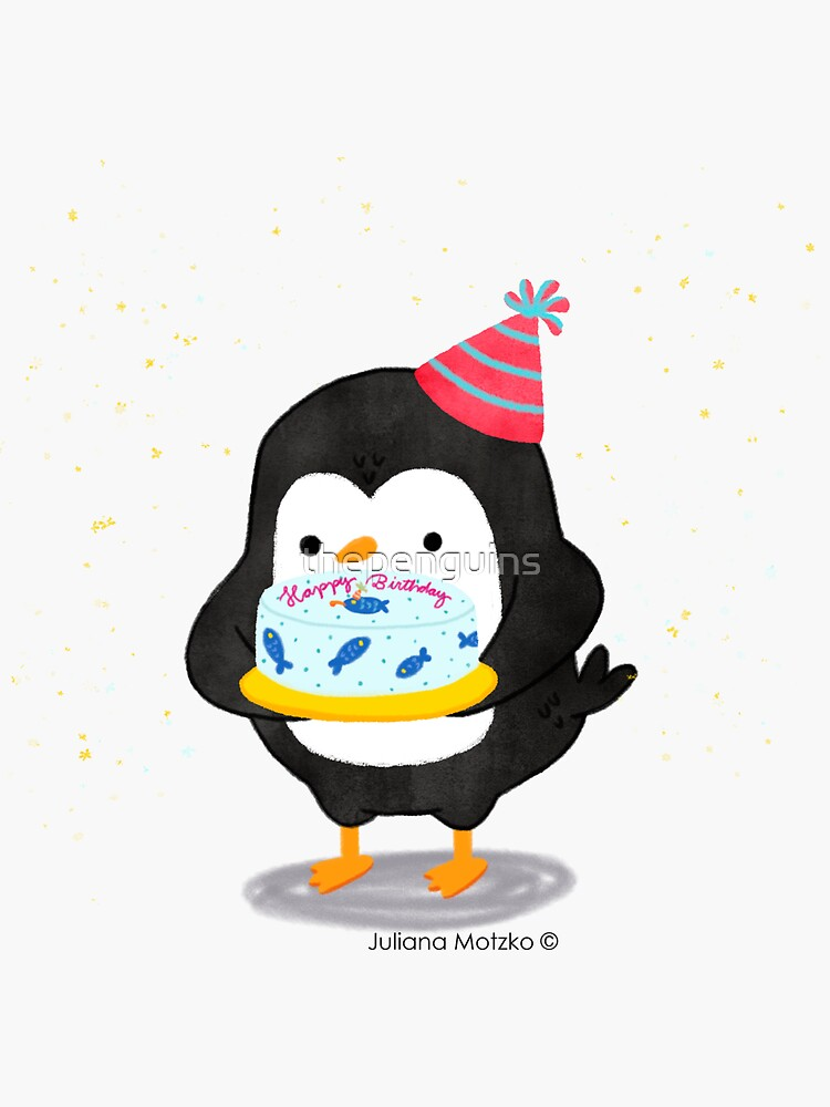 Festive penguin with a birthday fish cake by thepenguins