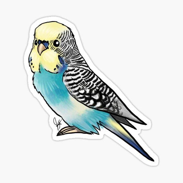 Yellow-faced Blue Budgie Parakeet Sticker