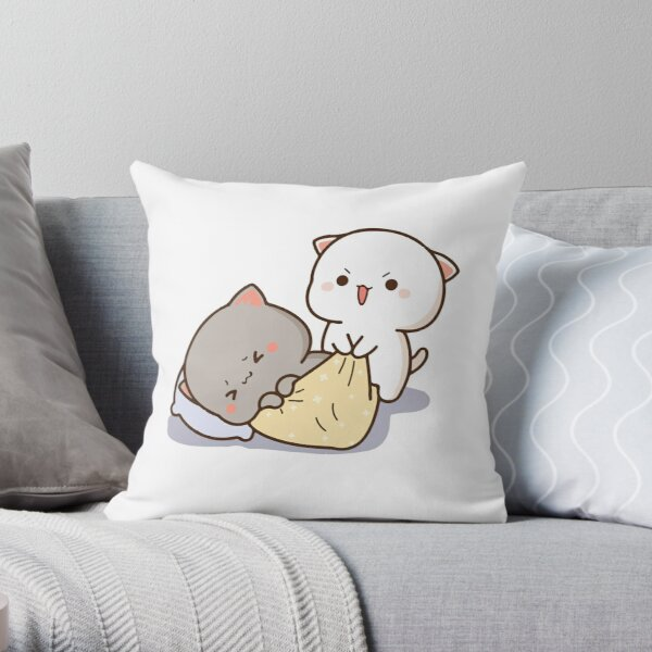 Peach and Goma Mochi Cat Wake Up Throw Pillow