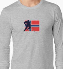 I Love Norge - Norway National Flag & Hockey Player Skjorte Long Sleeve T-Shirt