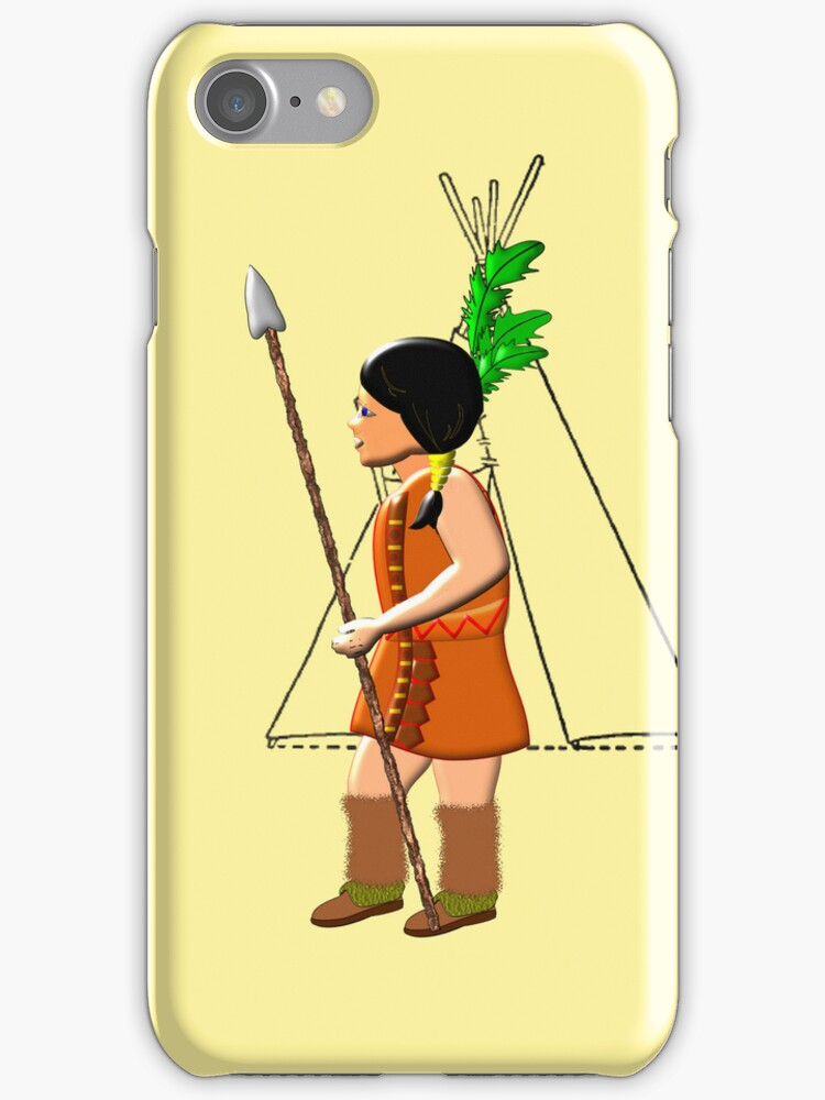 A Native Red Indian Girl of America iPhone case design by Dennis Melling