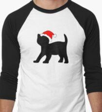 Kitten in a Santa Hat Men's Baseball ¾ T-Shirt