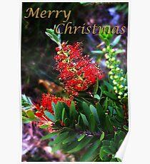 Merry Christmas Bottlebrush Card Poster