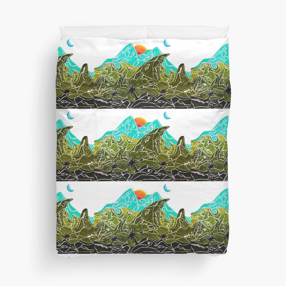 Mountains in Paradise Duvet Cover