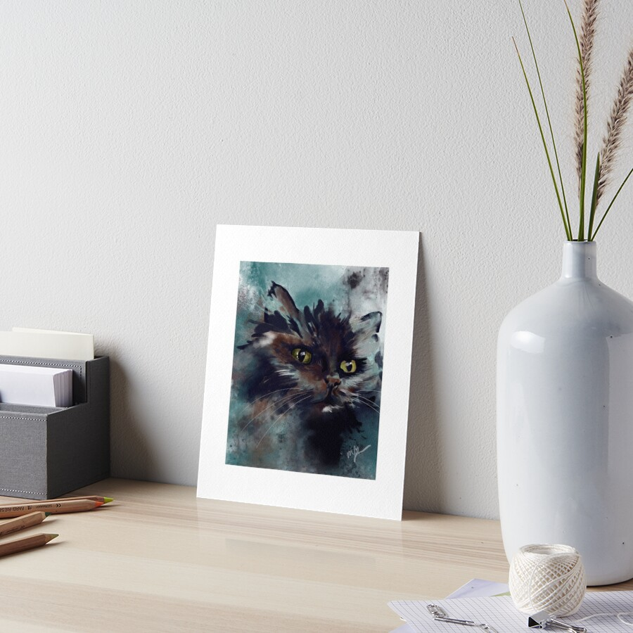 Onyx the Black Cat Watercolor  Art Board Print