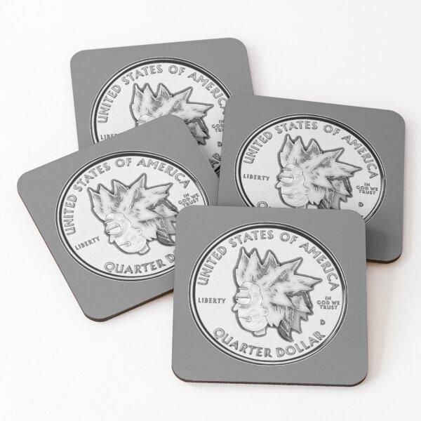 Rick Sanchez Wig Quarter Coin Coasters (Set of 4)