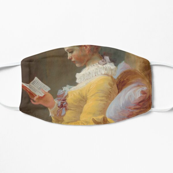 Young Girl Reading Painting by Jean-Honoré Fragonard Flat Mask