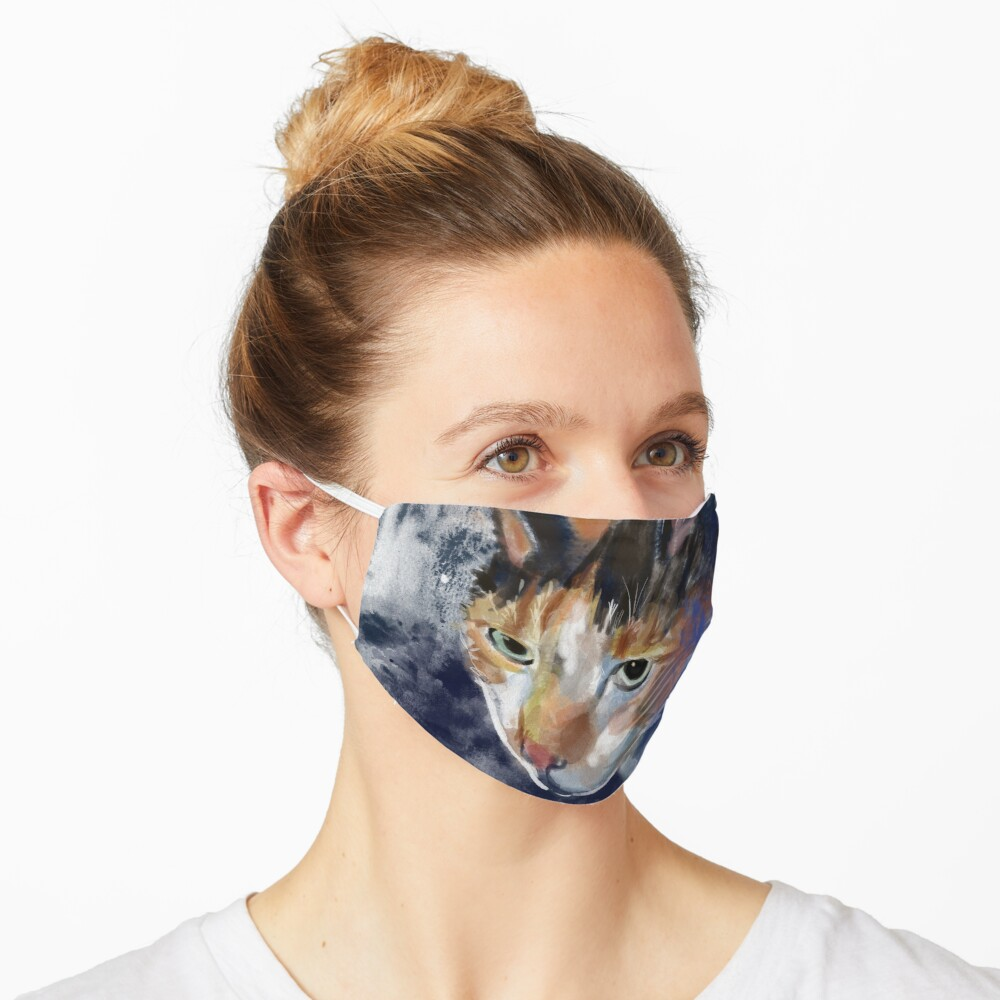 Watercolor Calico Cat Mask
