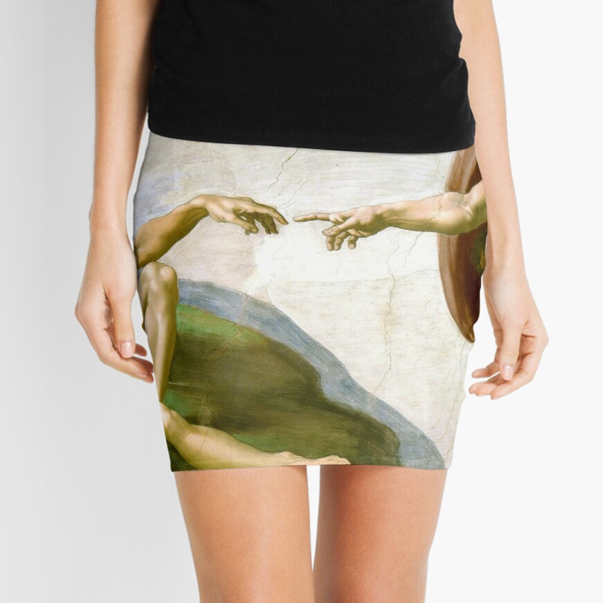The Creation of Adam Painting by Michelangelo Sistine Chapel Mini Skirt