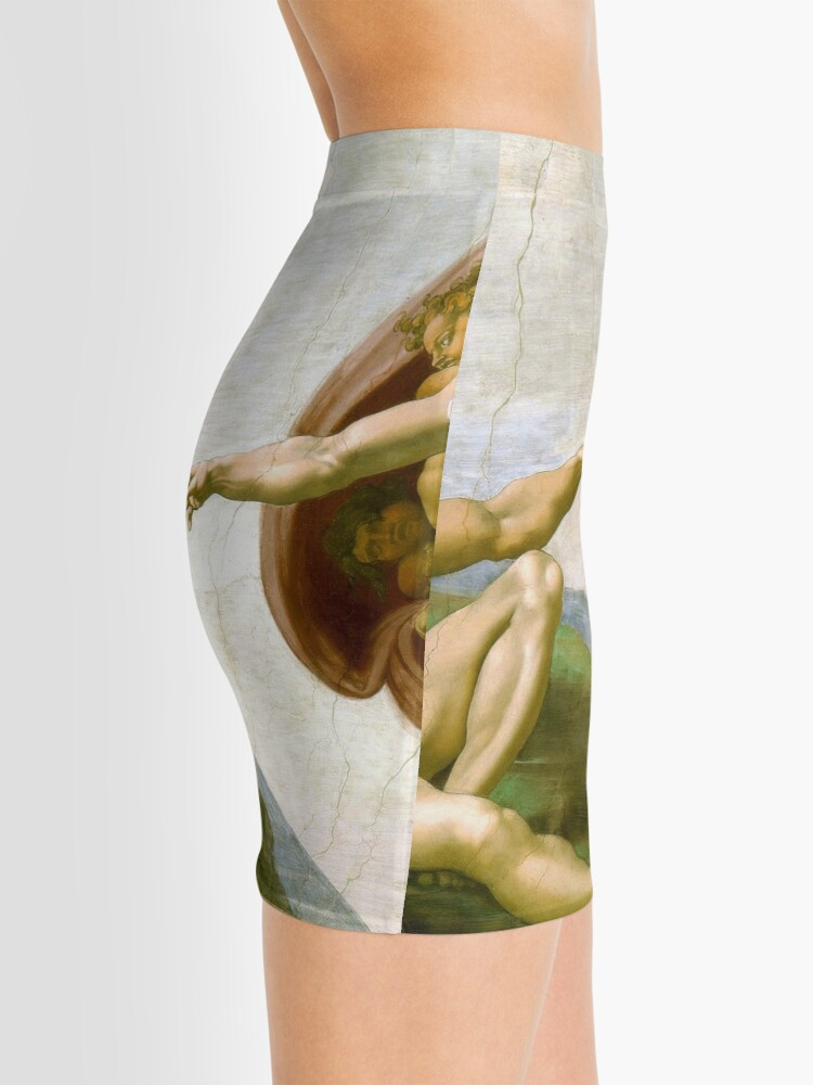 Alternate view of The Creation of Adam Painting by Michelangelo Sistine Chapel Mini Skirt
