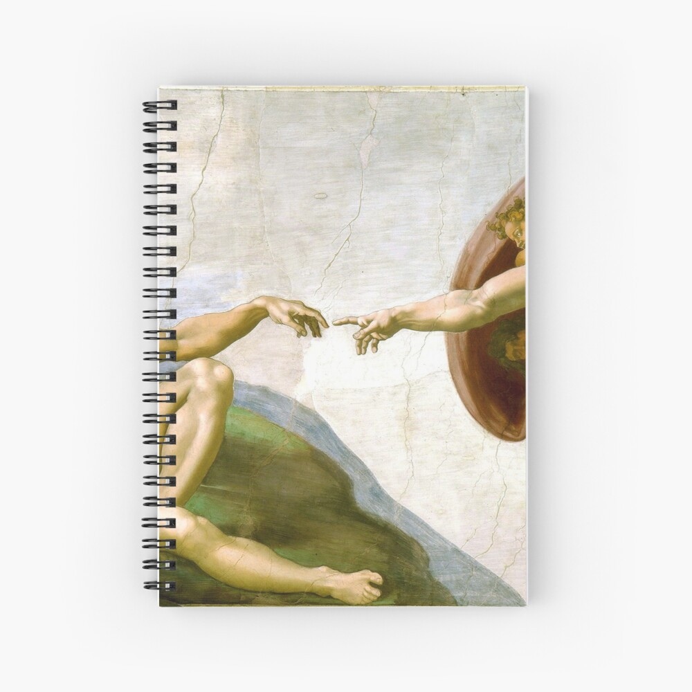 The Creation of Adam Painting by Michelangelo Sistine Chapel Spiral Notebook