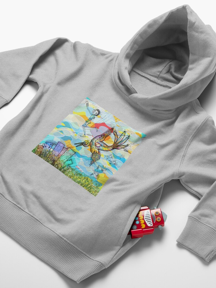 Alternate view of The Boy, The Bird and the Flying Dream (II) Toddler Pullover Hoodie