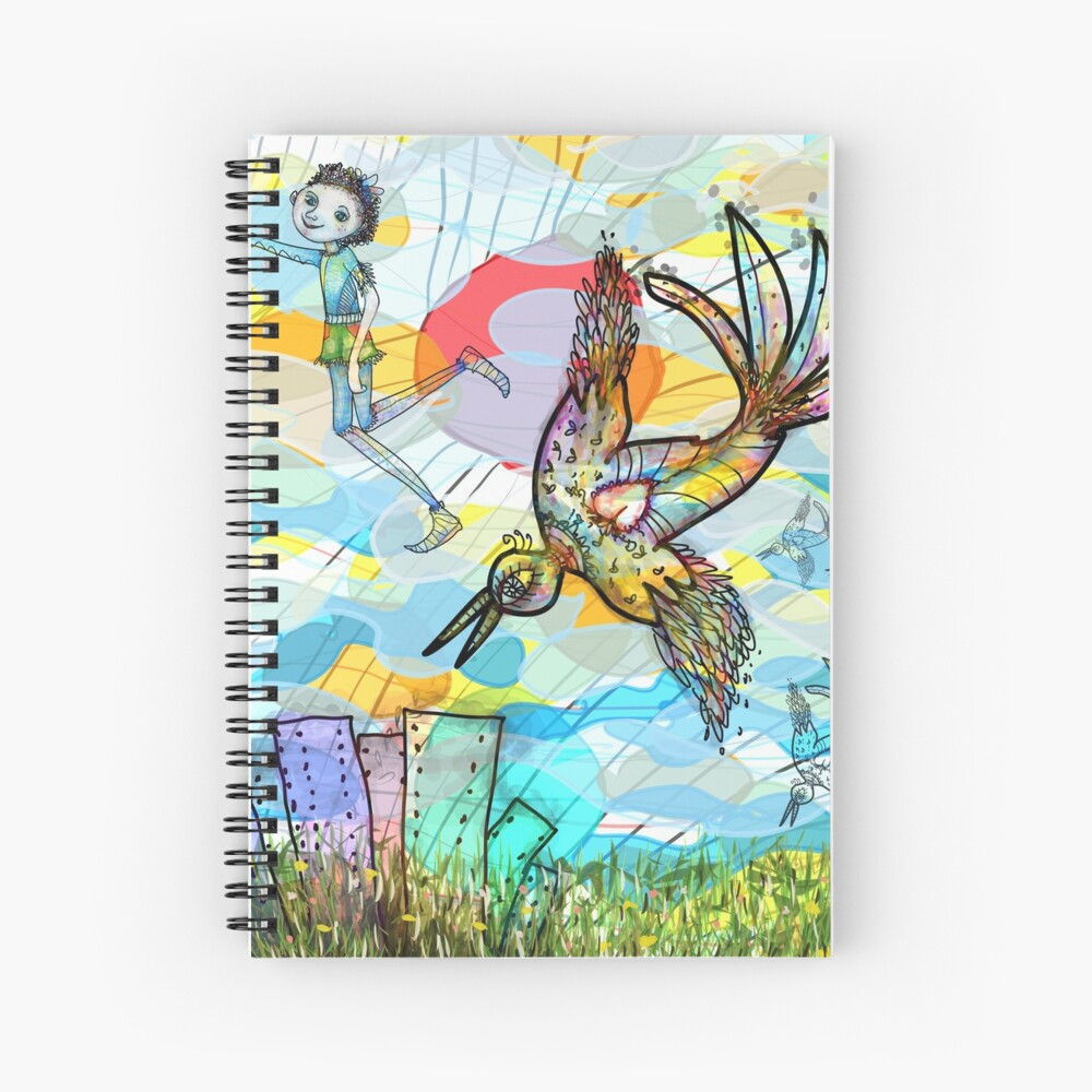 The Boy, The Bird and the Flying Dream (II) Spiral Notebook