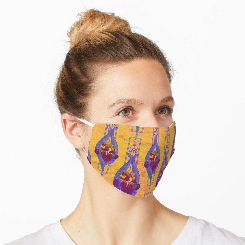 Art Nouveau Irises in Russet, Purple and Yellow Mask