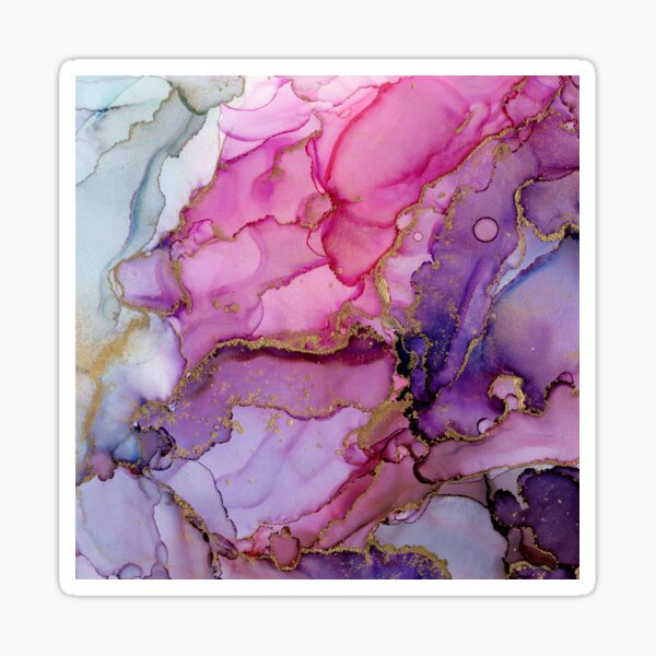 Magenta Gold Marble Abstract Ink Sticker