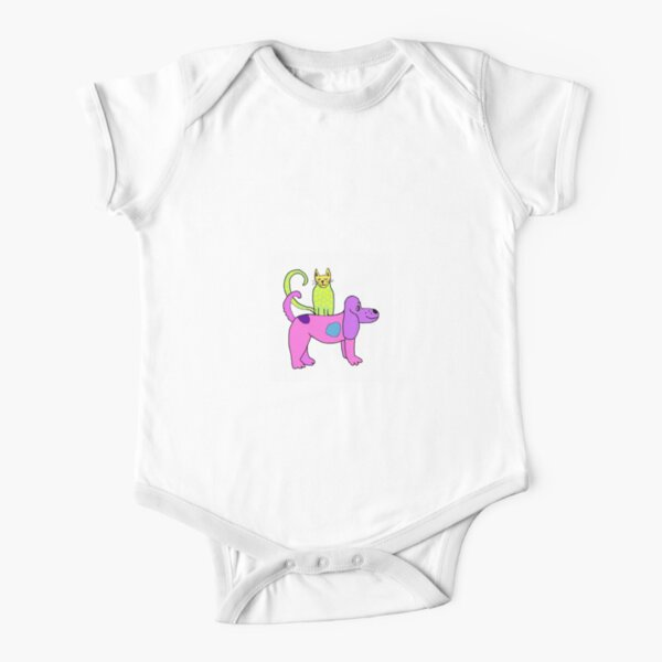 polka dot cat riding purple dog Short Sleeve Baby One-Piece