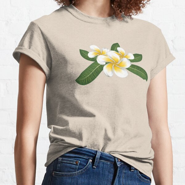 White plumeria with leaves Classic T-Shirt
