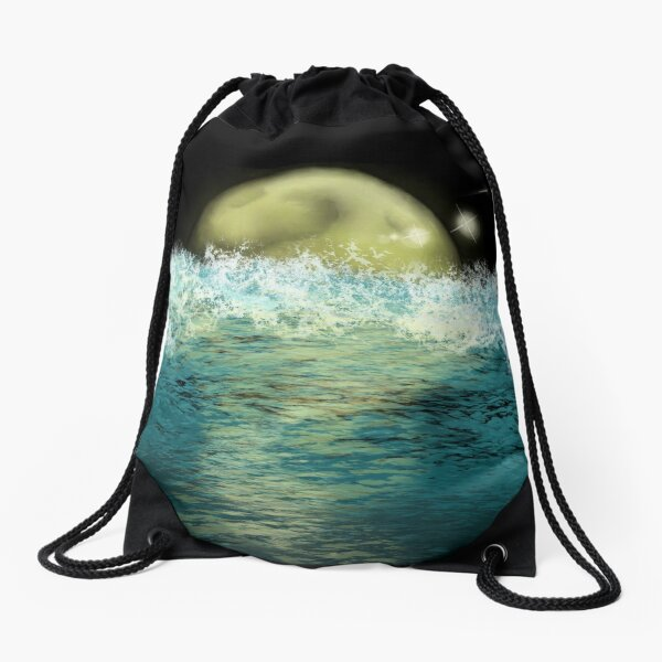 The Moon and The Ocean Drawstring Bag