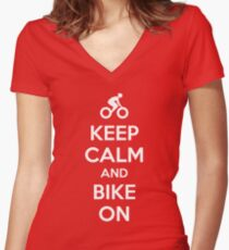 Keep Calm and bike on Women's Fitted V-Neck T-Shirt