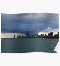 Chicago City Skyline from Montrose Harbor Poster