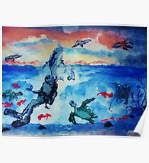There is beauty above and below, watercolor Poster