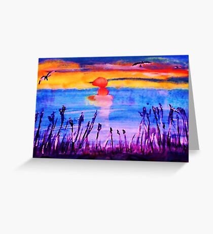 Sunset over the Reeds, watercolor Greeting Card