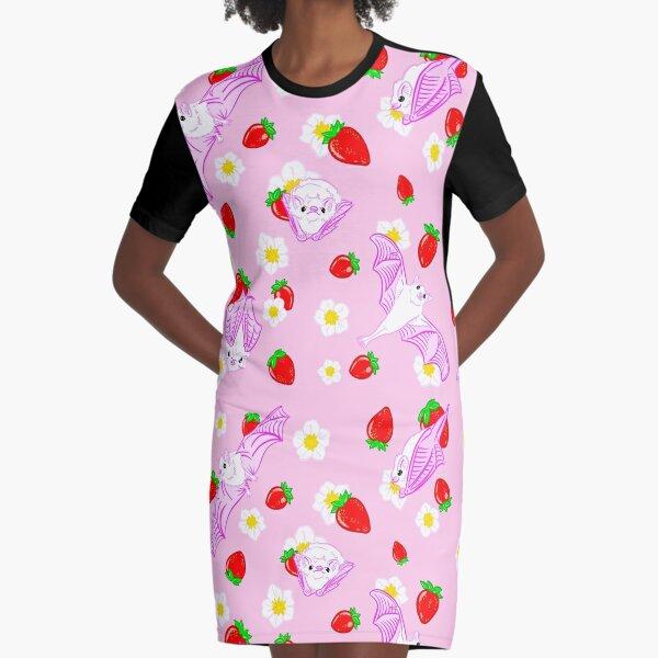 Kawaii Ghost Bats Graphic T-Shirt Dress