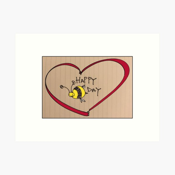 HAPPYBEEDAY HEART Art Print