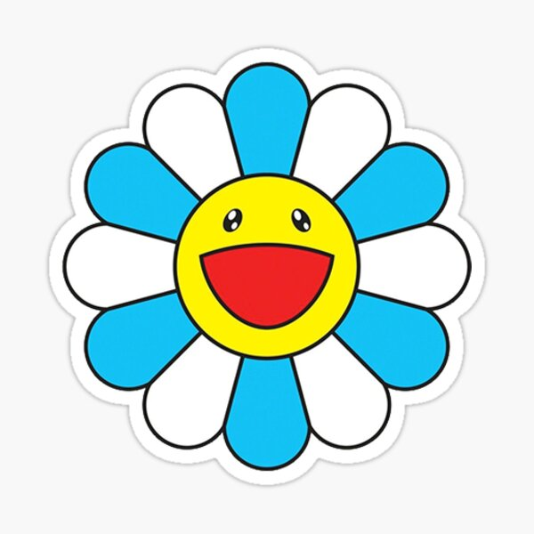 Etiqueta de la flor de Murakami azul Pegatina