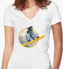 Snow Board Jump Women's Fitted V-Neck T-Shirt