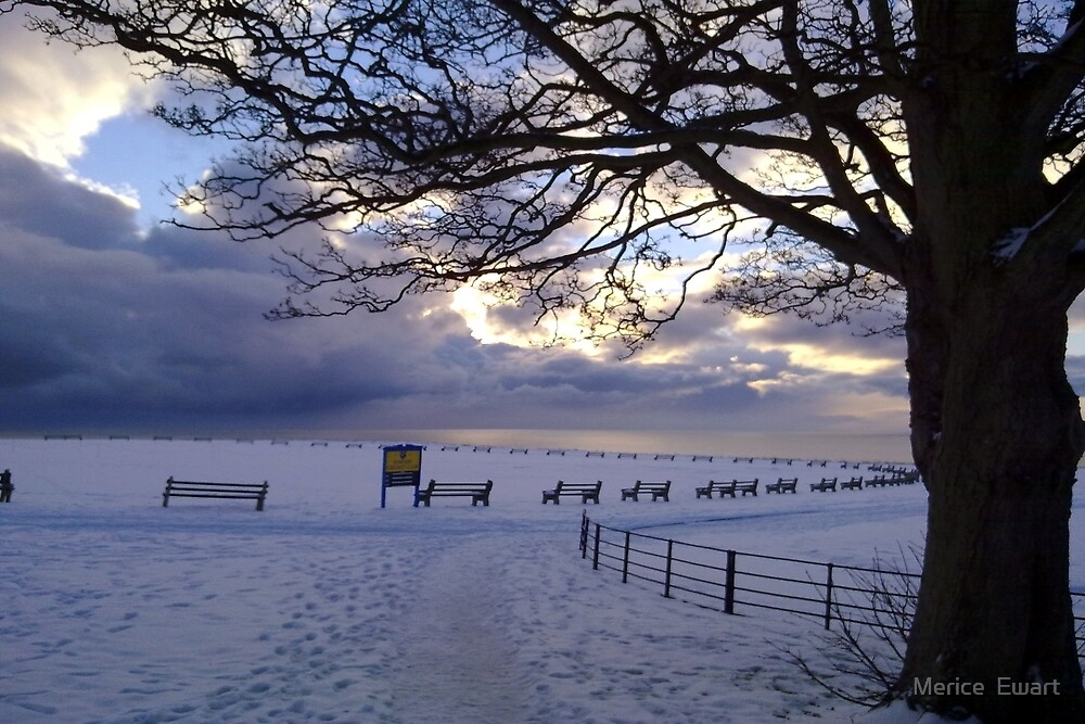 """Snow Stopped Play"" Sewerby Cricket Club - Bridlington East Yorkshire by Merice  Ewart-LFA"