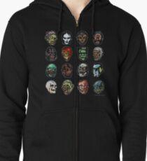 Horror Movie Monster Masks (color) Zipped Hoodie