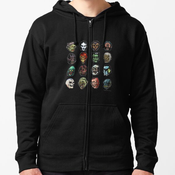 Horror Movie Monster Masks (color) Zipped Hoodie