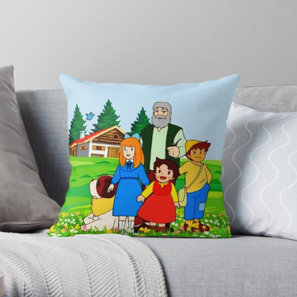Heidi and her relatives in front of the chalet. Throw Pillow